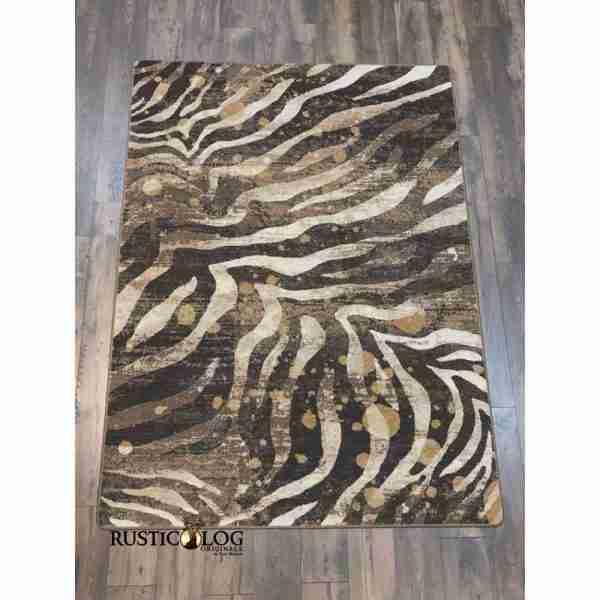 Zebra and gold splash print area rug