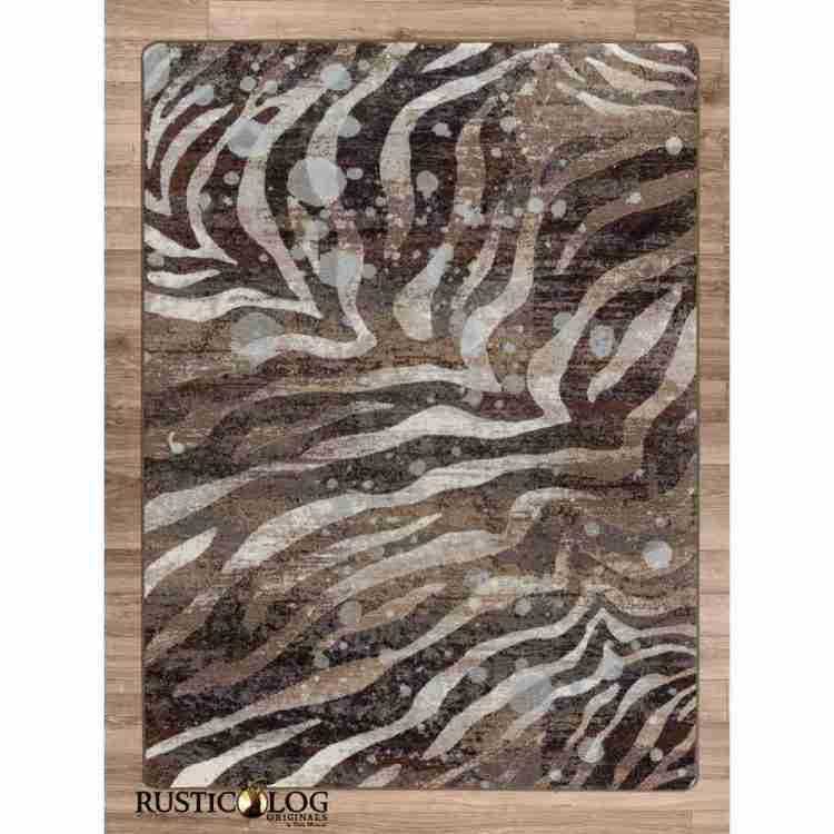 Rug with zebra stripes and silver splash print