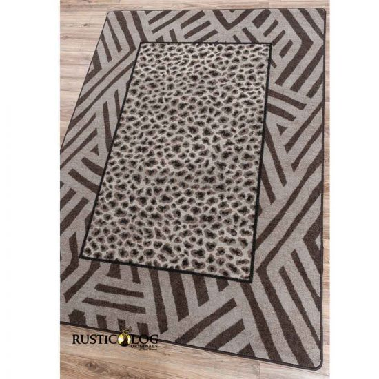 Leopard and graphic stripes area rug