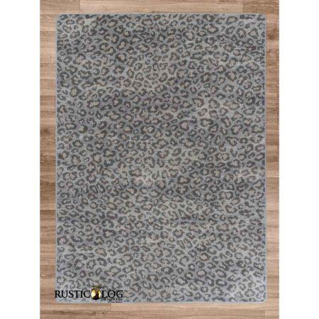 Grey leopard print area rug