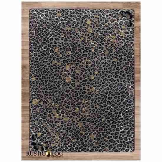 Dark leopard print area rug