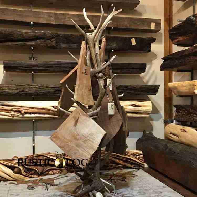 Live Edge cutting board hanging on an antler coat rack