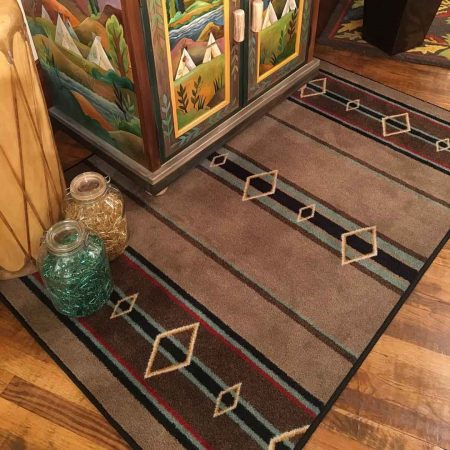 Southwestern rug in suede and turquoise