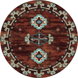 Round area rug with turquoise and tan Southwestern prints on a rust background