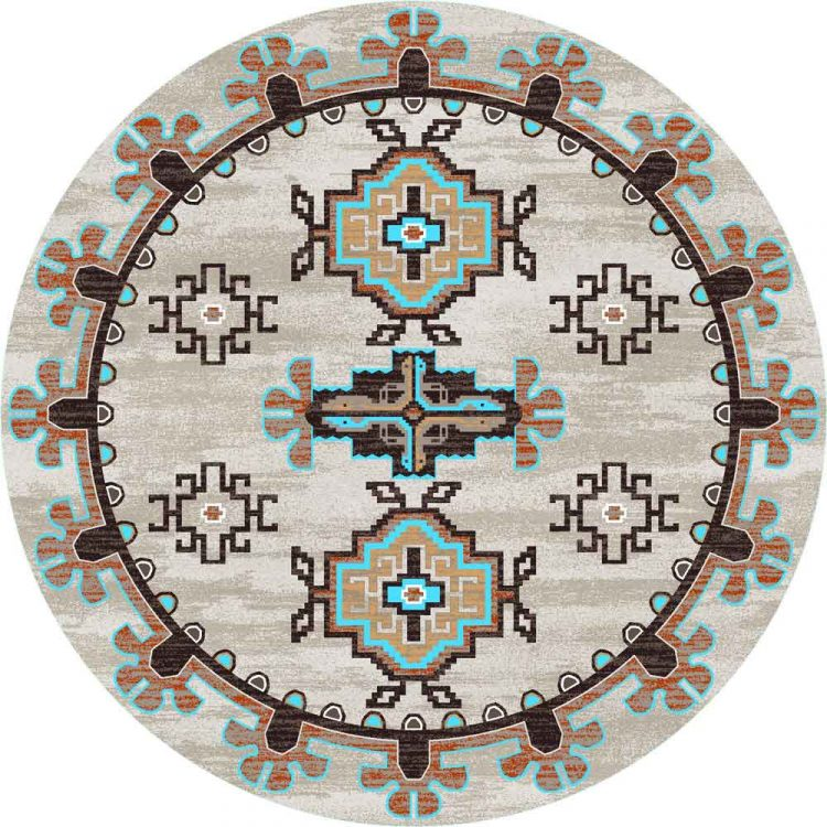 Round area rug with turquoise Southwestern prints on a tan background