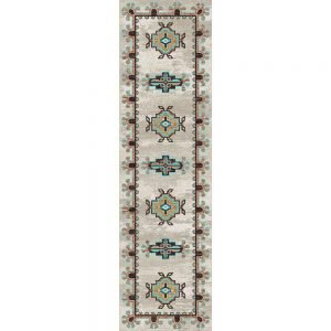 Runner rug with turquoise patterns on a tan background