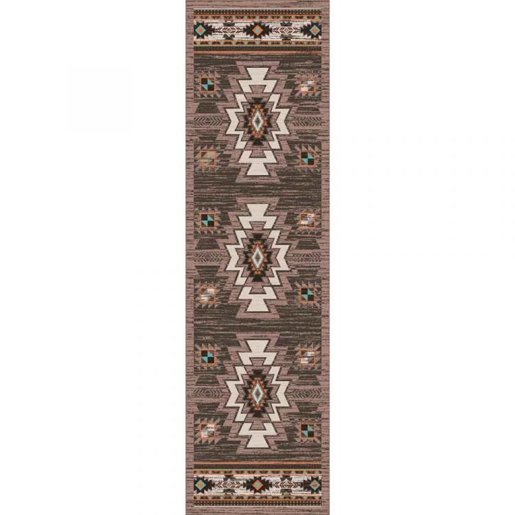 Brown Southwestern area runner with orange and turquoise print