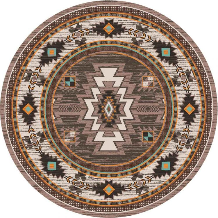 Brown area rug with Southwestern patterns in tan, turquoise and orange