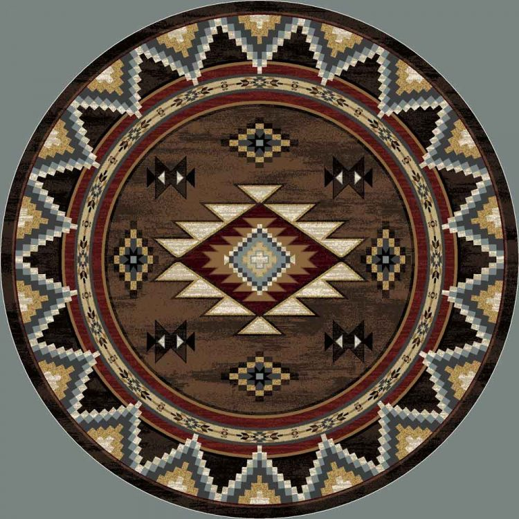 Round area rug with a brown background and red, blue and tan Southwestern designs