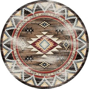 Distressed Southwestern area rug with a brown background and motifs in red, blue and tan