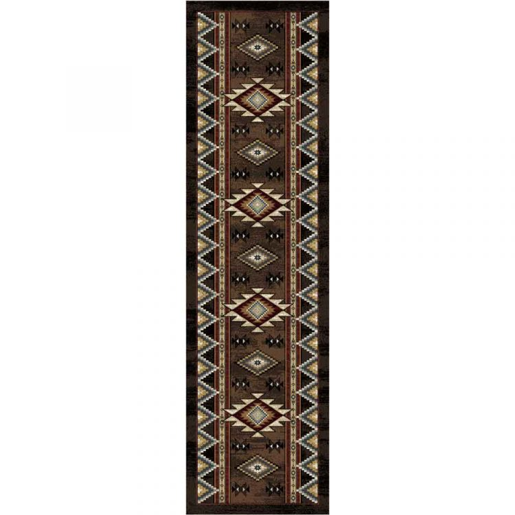 Southwestern runner with motifs in red and blue on a brown background