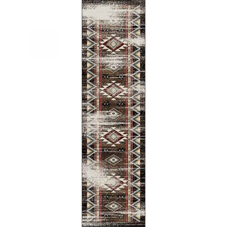 Southwestern brown runner with distressed print and motifs in red and blue