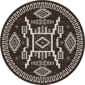 Brown Southwestern rund rug with off-white patterns