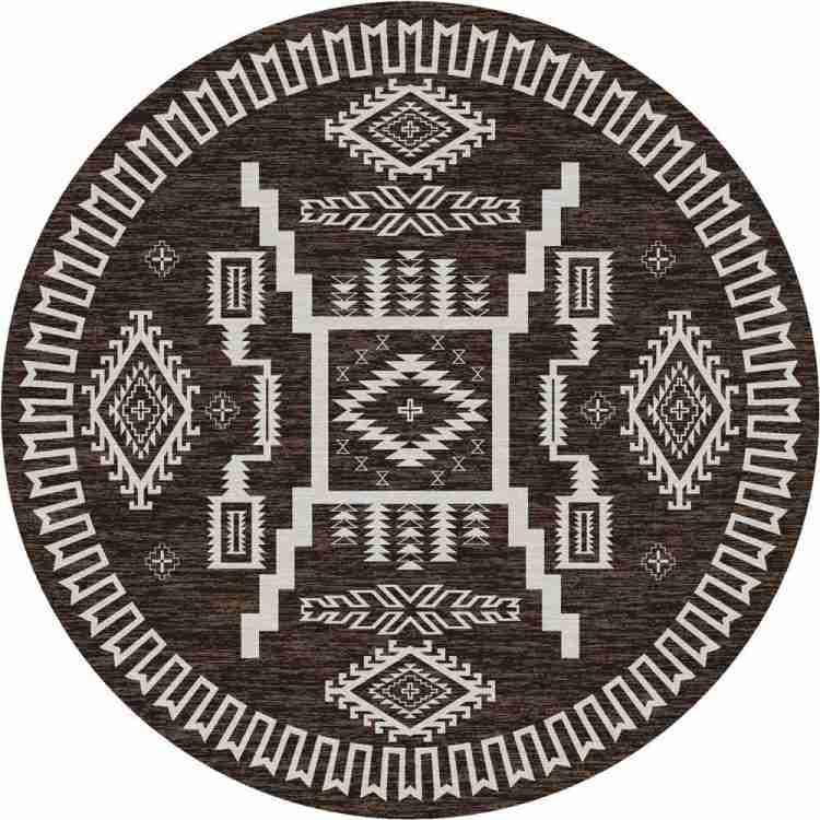 Brown Southwestern rund rug with off-white patterns