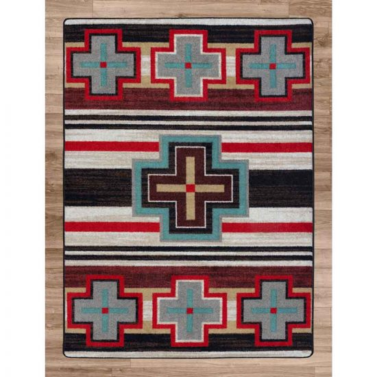 Southwestern rug with cross and stripes in tan, gray, red, and turquise