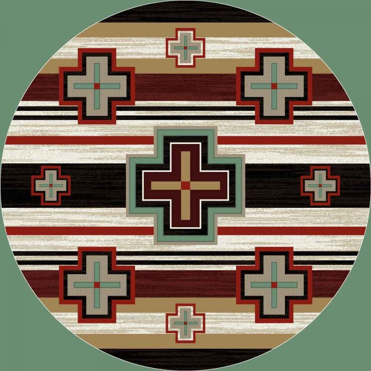 Round area rug with Southwestern red, black, and tan stripes and turquoise crosses