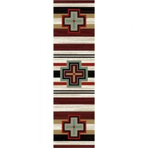 Runner rug with Turquoise Southwestern crosses on a red, black, and tan striped background