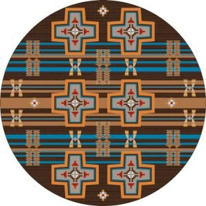 Round area rug with Southwestern cross and patterns in orange and turquoise on a brown background