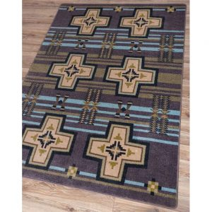 Area rug with a gray background, light blue stripes and tan crosses