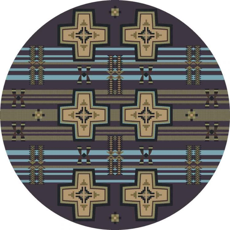Gray and blue round area rug with stripes, crosses and Southwestern motifs