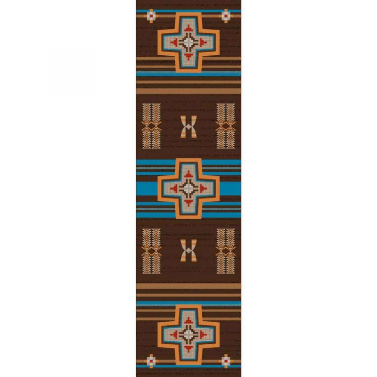 Runner rug with a brown and turquoise background with crosses and Southwestern patterns