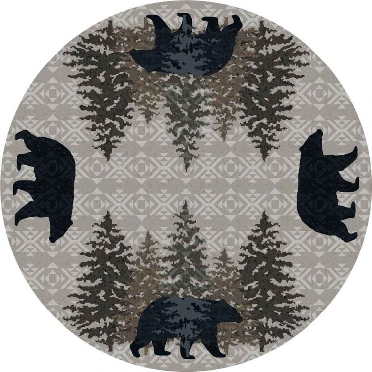 Round area rug with black bear and pine tree motifs on a gray background