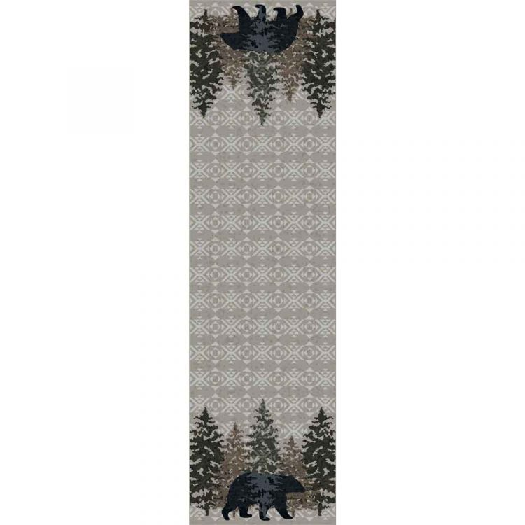 Gray runner with a bear and pine tree motifs