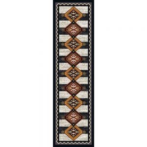 Southwestern runner with a black and white color block background and orange and red medallion print