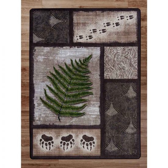 Rustic area rug with a nature theme in soft greens and browns