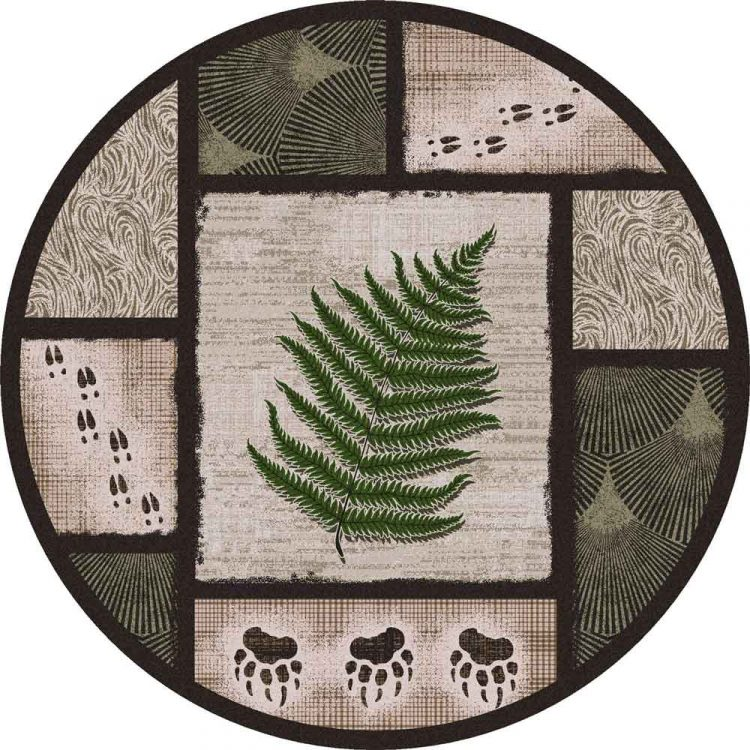 Round area rug with rustic leaf and paw prints in green and brown