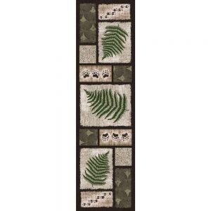 Runner rug with blocks with paw and leaf prints