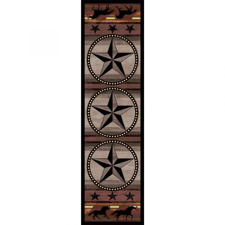 Runner rug with stars and horses on a gray and brown background