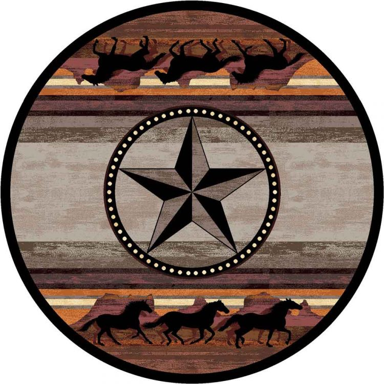 Round area rug with horses galloping at the top and bottom edge and a large star in the center in desert shades