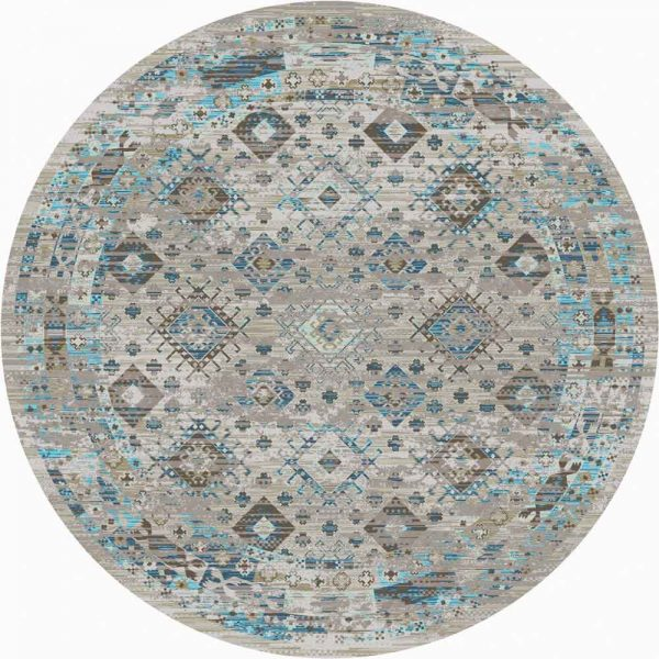gray and turquoise distressed Southwestern round rug