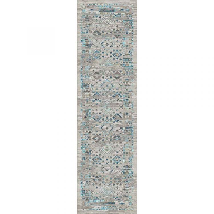 Gray area runner with distressed turquoise Southwestern prints