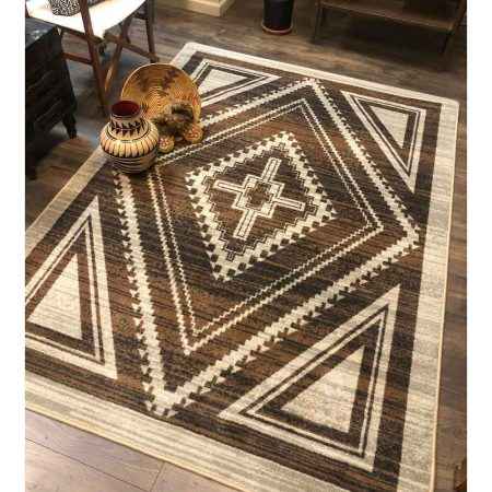 Southwestern area rug with rhombus pattern in brown on a tan background