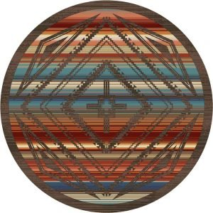 Multicolor round rug with a taupe Southwestern rhombus design