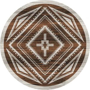 Tan and brown area rug with a Southwestern rhombus design