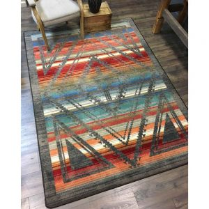 Southwestern area rug with rhombus designs on a rainbow striped background