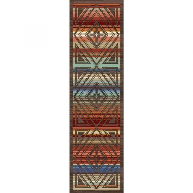 Southwestern runner with a multicolor background and Southwestern pattern