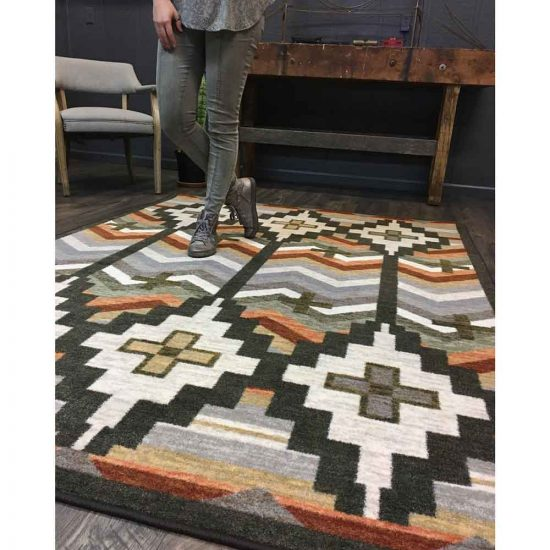 Southwestern area rug in Autumn colors and gray