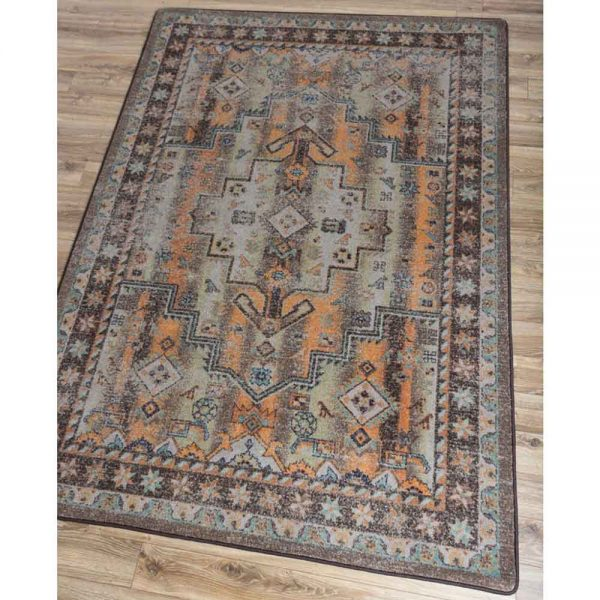 Rectangle area rug with a taupe background and Southwestern and Persian prints in orange and dark brown
