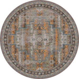 Round area rug with faded SOuthwestern design in gray, orange and turquoise