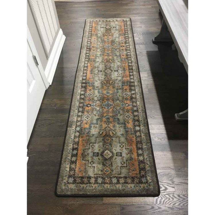 Runner in shades of gray and orange with distressed Persian