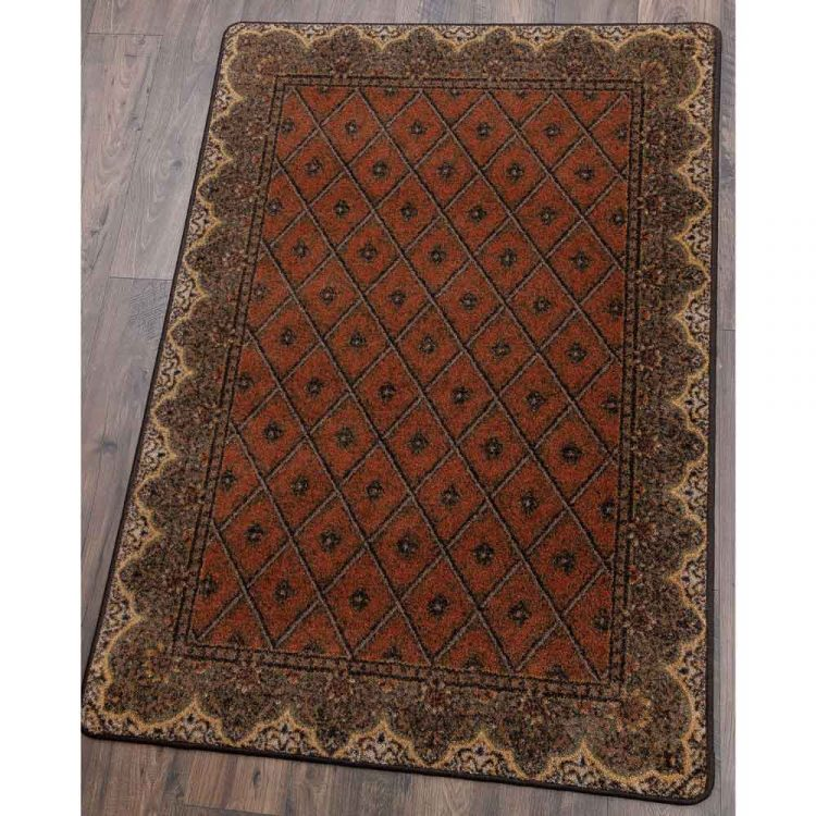 Area rug with a diamond pattern on a rich brown background and a Persian border