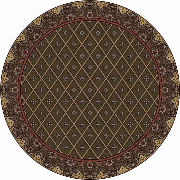 Green area rug with a Persian border surrounding a diamond pattern