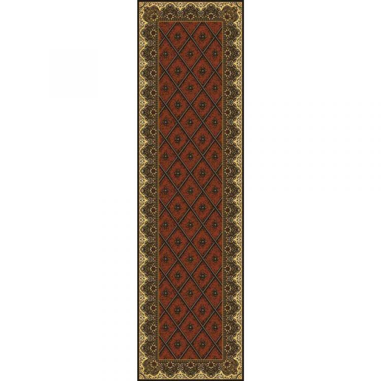 Copper brown runner rug with a diamond pattern and a border with Persian motifs