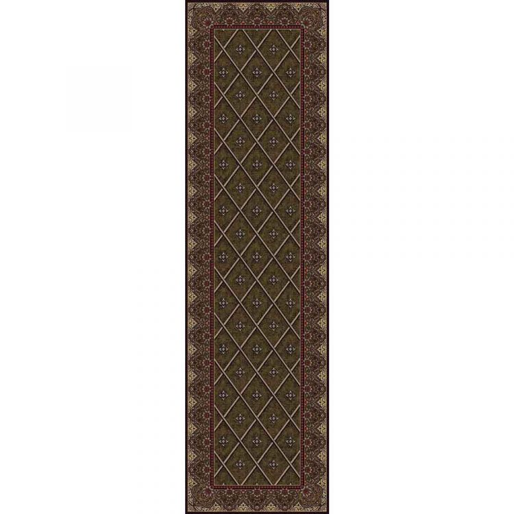 Runner rug in olive green with a diamond pattern bordered by classic motif