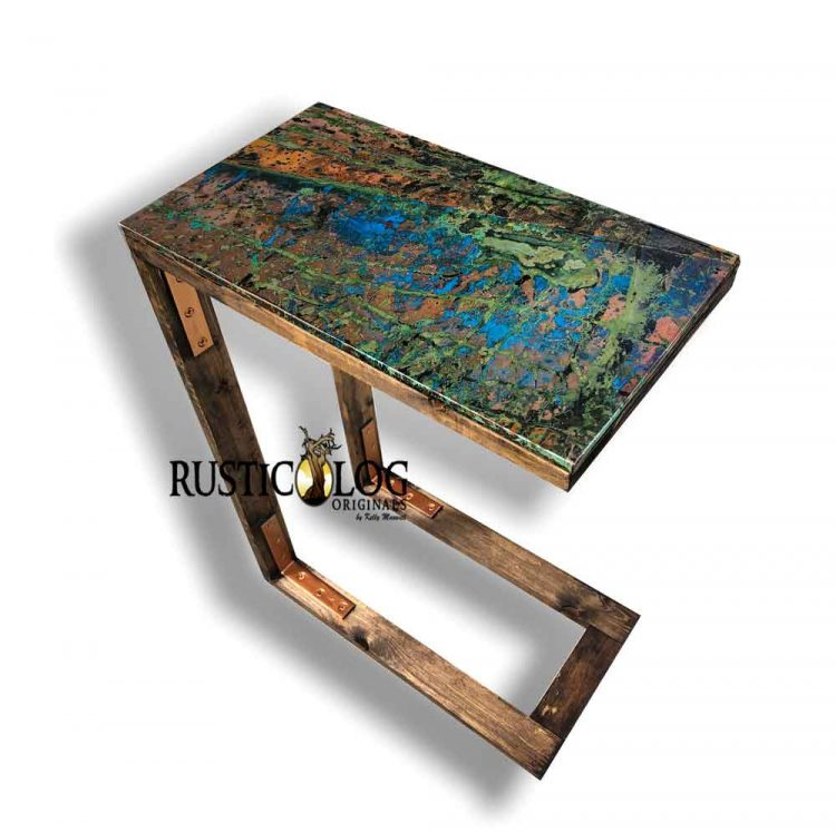 Small accent table with copper top with a custom patina