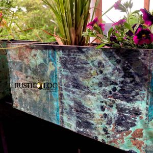 copper planters with a custom teal patina
